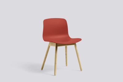 About A Chair AAC12 Warm Red Seat and Matt Lacquered Solid Oak