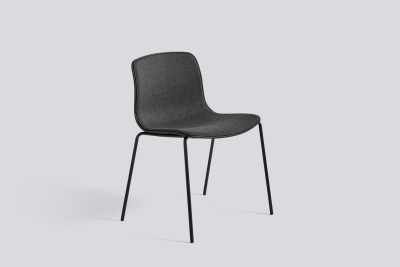 About A Chair AAC16 with front upholstery Divina MD 813, Dusty blue, White Powder Coated Steel