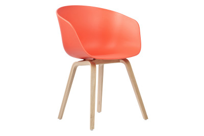 About A Chair AAC22 Coral Red Seat, Soap Treated Oak Base