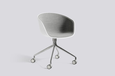 About A Chair AAC24 with front upholstery Surface by Hay 120, Black, White Powder Coated Steel