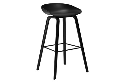About A Stool AAS32 Matt Lacquered Oak Base, Coral Red Seat, High