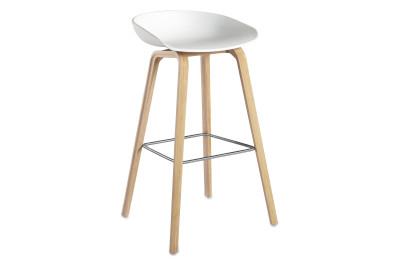 About A Stool AAS32 Soap Treated Oak Base, White Seat, High