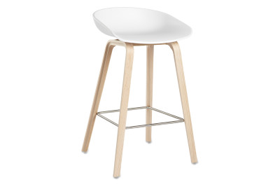 About A Stool AAS32 Soap Treated Oak Base, White Seat, Low