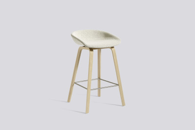 About A Stool AAS33 Low Stool, Matt Lacquered Oak Legs Hallingdal 65 100