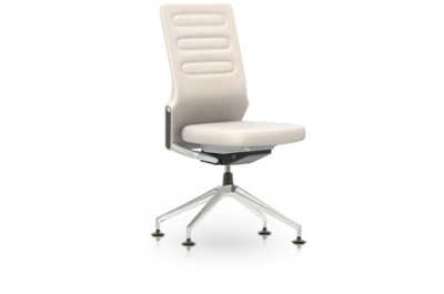 AC 4 Conference Chair, Without adjustable lumbar support With polished aluminium ring armrests, Leather Premium 72 snow, Leather Premium 72 snow, 04 glides for carpet