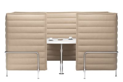 Alcove Cabin Highback Three-Seater Credo 11 cream/dolphin, 01 chrome