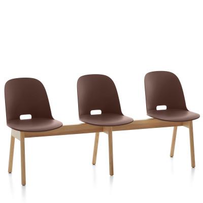 Alfi 3 Seater Bench, High Back Dark Brown, Natural Light Ash Frame