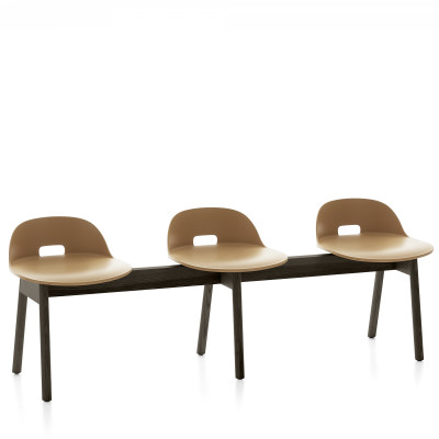 Alfi 3 Seater Bench, Low Back Sand, Dark Stained Ash Frame