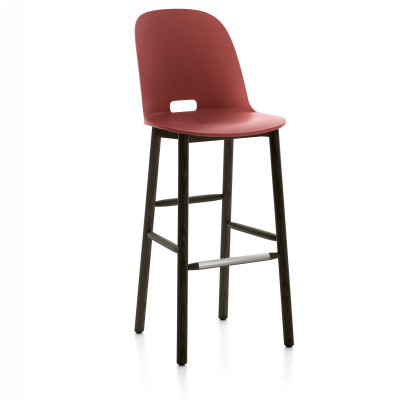Alfi Barstool, High Back Red, Dark Stained Ash Frame