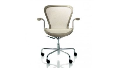 Annett Office Chair Matt Beige, Chromed Base