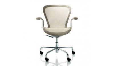 Annett Office Chair Matt Beige, Chromed Base