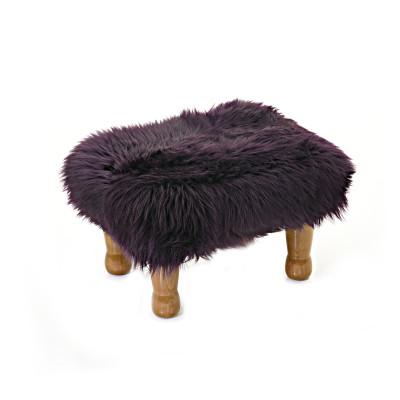 Anwen Sheepskin Footstool  Aubergine