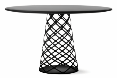 Aoyama Dining Table Black Stained Ash, White Base, 150 x 73 cm
