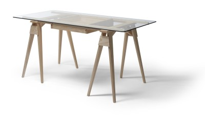 Arco Desk Frame & Drawer Oak