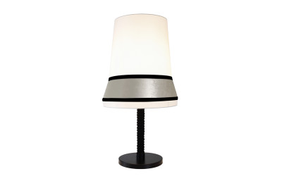 Audrey Table Lamp Ivory coto/ivory velvet/ Black silky trim, Large