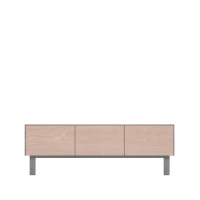 AV Unit 2 Drawers & 1 Door Oak, Light Grey