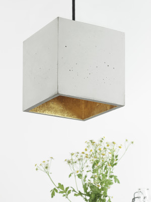 [B5] Pendant Light Cubic Big Light Grey Concrete, Gold Plating