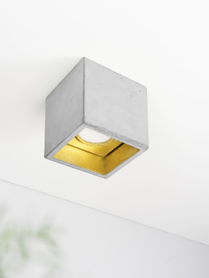[B7] Ceiling Spot Cubic Light Grey Concrete, Gold Plating
