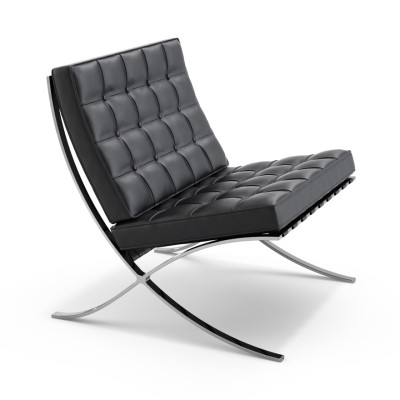 Barcelona Chair Volo Leather, Black, 43x77x75x77