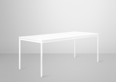 Base Rectangular Table, 160 x 80 White/White Laminate/Plywood