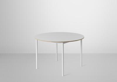Base Round Table Oak Veneer - Plywood edges, 128 cm diameter