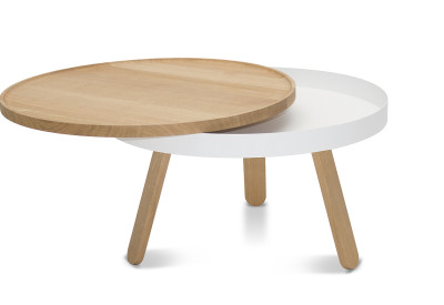 Batea M - Coffee table with storage Oak & White