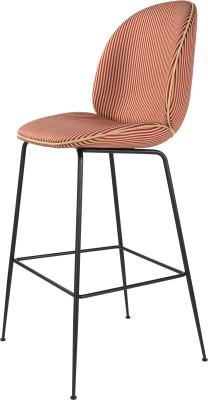 Beetle Bar Chair - Fully Upholstered Leather Silk SIL0197 Cream, Frame Matt Black, Matching Fabric