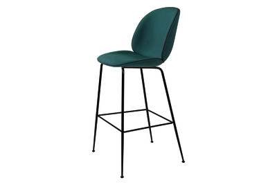 Beetle Bar Stool Balder 3 132, Black Chrome Legs, Black Leather Piping