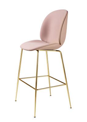 Beetle Counter Chair - Front Upholstered Shell Plastic Dark Pink, Leather Silk SIL0197 Cream, Frame Matt Black
