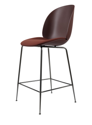 Beetle Counter Chair - Seat Upholstered Shell Plastic Dark Pink, Leather Silk SIL0197 Cream, Frame Matt Black