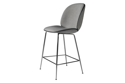 Beetle Counter Stool Balder 3 132, Black Chrome Legs, Black Leather Piping