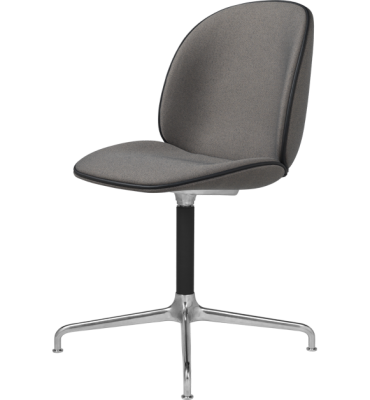 Beetle Dining Chair - Casted Swivel Base - Fully Upholstered Leather Silk SIL0197 Cream, Frame Matt Black, Matching Fabric