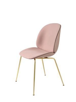 Beetle Dining Chair - Conic Base - Front Upholstered Shell  Leather Silk SIL0197 Cream, Plastic Dark Pink, Frame Matt Black