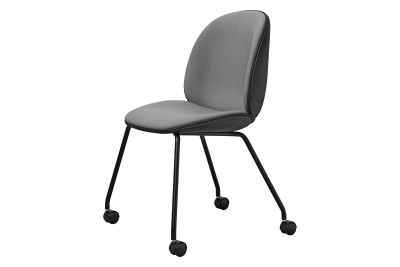 Beetle Dining Chair with Castors Steelcut 2 365, Cognac Leather Piping