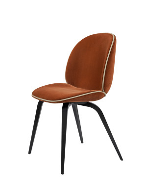 Beetle Dining Chair - Wood Base - Fully Upholstered Leather Silk SIL0197 Cream, Gubi Wood Black Stained Beech, Matching Fabric