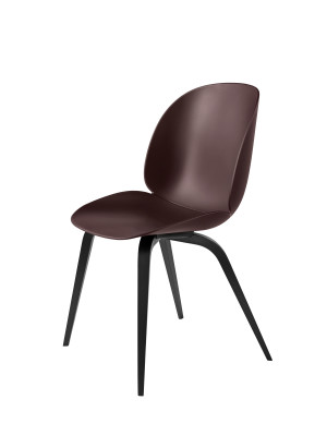 Beetle Dining Chair - Wood Base Plastic Dark Pink, Gubi Wood Black Stained Beech