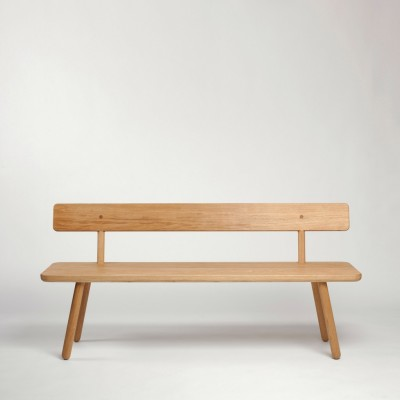 Bench One with Back Oak, 200 cm