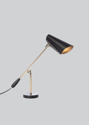 Birdy Table Lamp Black/Brass, Type G Plug