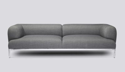 Bjørn 3 Seater Sofa Leather Sierra SI1012 White, Chromed Aluminium