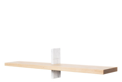 Block Oblong Shelf Ash and Carrara Marble