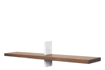 Block Oblong Shelf Walnut and Carrara Marble