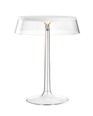 Bon Jour T Table Lamp White Top, Transparent Shade