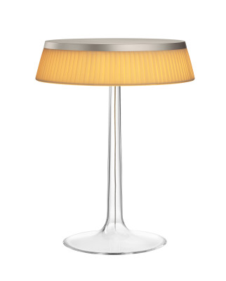 Bon Jour T Table Lamp Matt Chrome Top, Fabric Shade