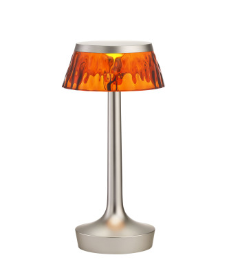 Bon Jour Unplugged Table Lamp Matt Chrome finish, Amber shade