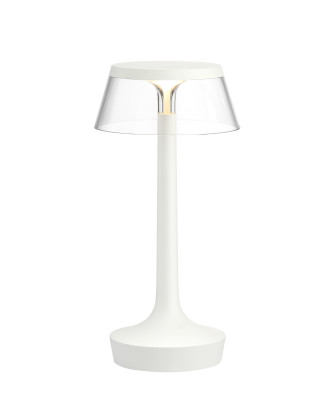 Bon Jour Unplugged Table Lamp White finish, Transparent shade