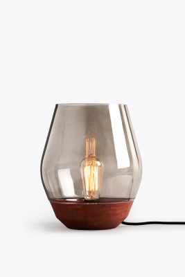 Bowl Table Lamp Raw Copper, Light Smoked Glass