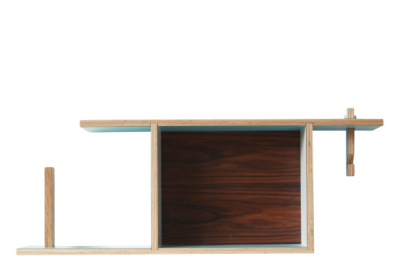 Box Shelf Blue, Oak Back