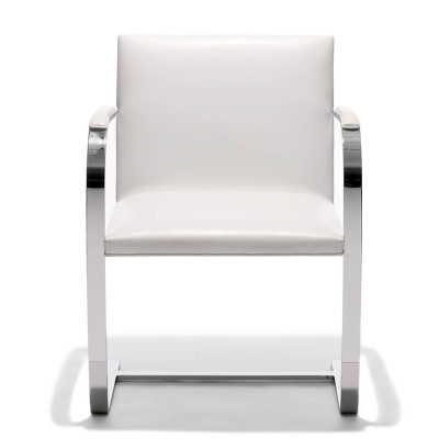 Brno Armchair Flat Bar Lucca Black LCBLCK, Satin Chrome