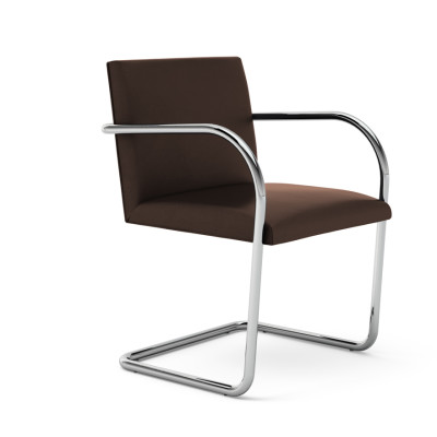 Brno Chair - Tubular Lucca Civitali LC2414, Satin Chrome, without armpads, Regular Cushions