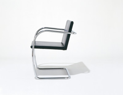 Brno Chair - Tubular Lucca Black LCBLCK, Satin Chrome, without armpads, Regular Cushions